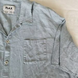 Flax light blue button-down linen shirt large